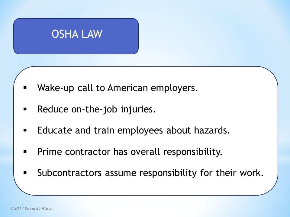 © 2014 David B.Walls OSHA Leading Cause of Worker Deaths  Falls.