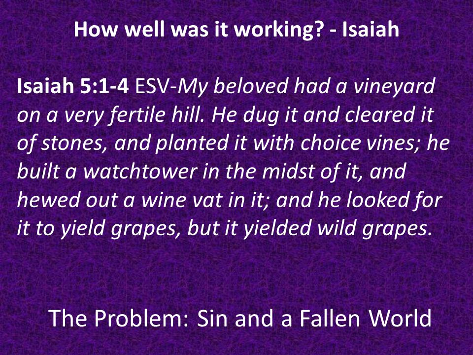 The Problem: Sin and a Fallen World Isaiah 5:1-4 ESV-(God speaking) And now, O inhabitants of Jerusalem and men of Judah, judge between me and my vineyard.