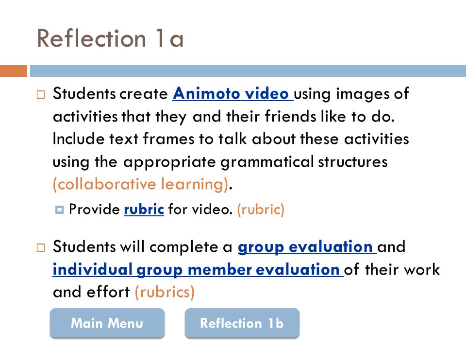 Rubric: Animoto ExcellentGoodAcceptableIncomplete Information in the Animoto video (20) Information is relevant and specific.