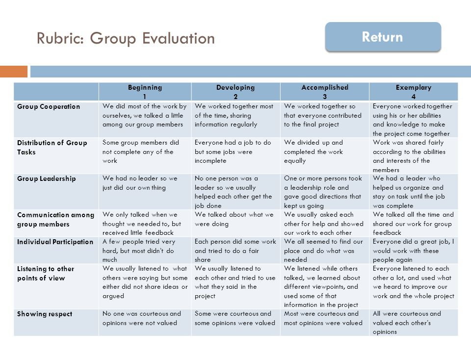 Rubric: Group Member Evaluation Beginning 1 Developing 2 Accomplished 3 Exemplary 4 Source of Conflict Participated in regular conflict that interfered with group progress.