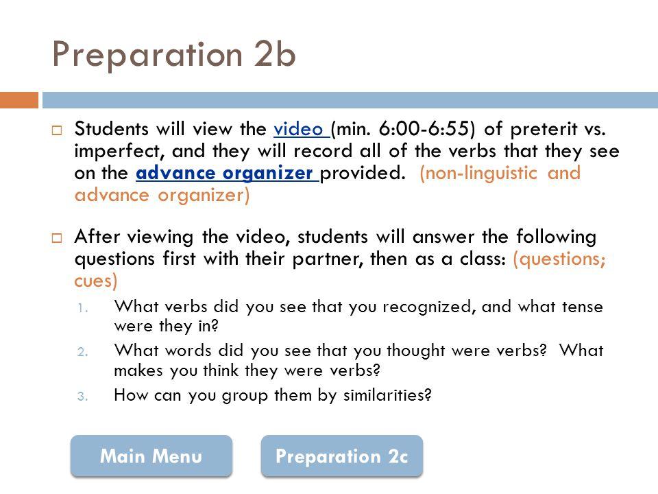 Advance Organizer: Imperfect Verbs Return
