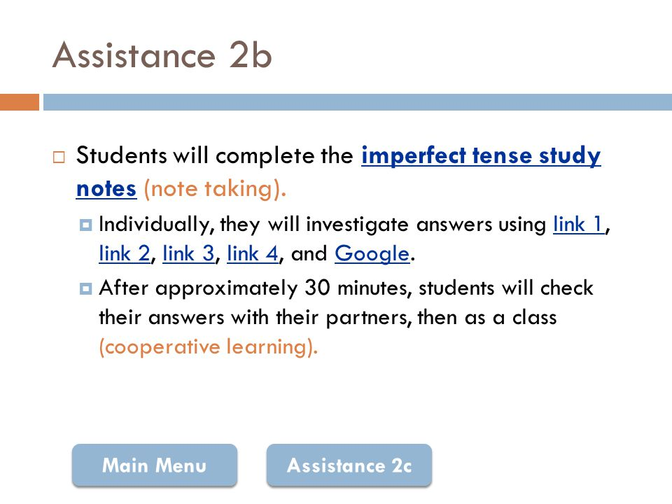 Note-Taking Guide: Imperfect Tense Return