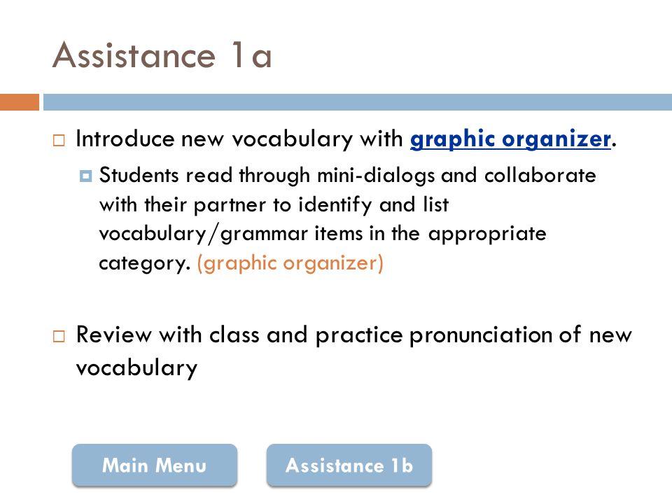 Graphic Organizer: Vocabulary Lee los diálogos en p.