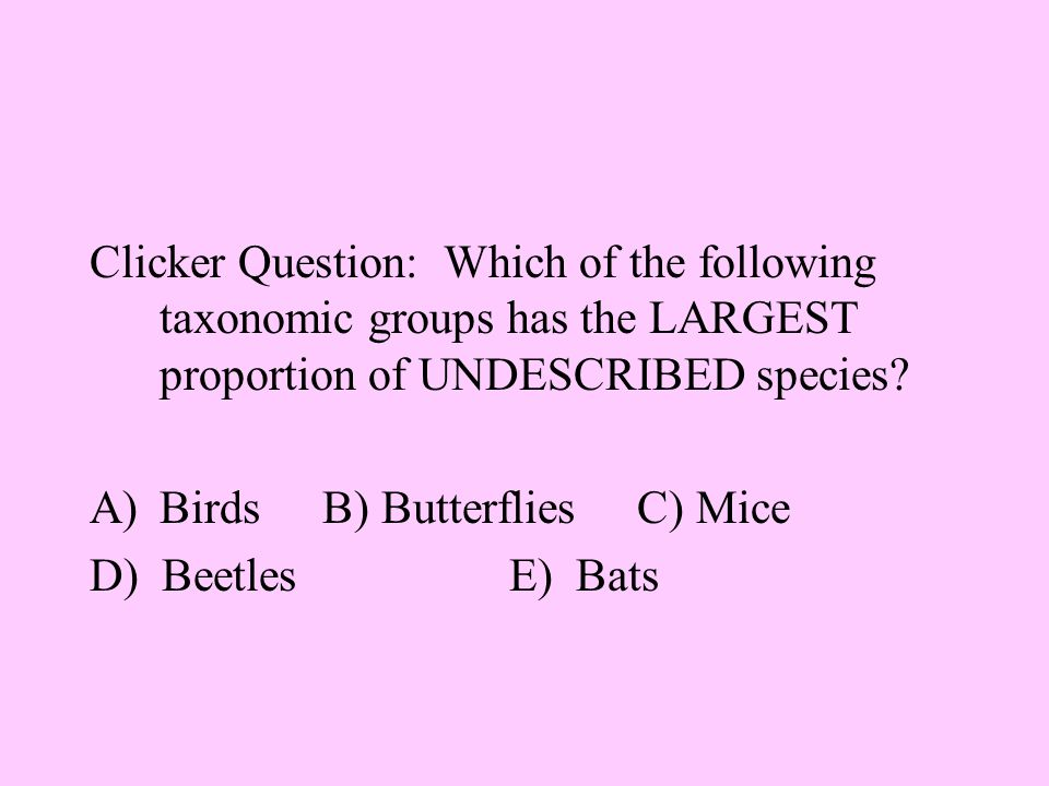 Clicker Question: Which of the following taxonomic groups has the LARGEST proportion of UNDESCRIBED species.