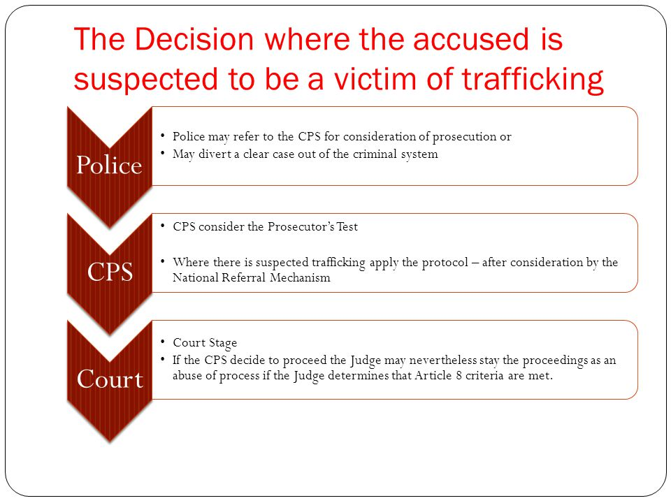The Decision where the accused is suspected to be a victim of trafficking Police Police may refer to the CPS for consideration of prosecution or May divert a clear case out of the criminal system CPS CPS consider the Prosecutor's Test Where there is suspected trafficking apply the protocol – after consideration by the National Referral Mechanism Court Court Stage If the CPS decide to proceed the Judge may nevertheless stay the proceedings as an abuse of process if the Judge determines that Article 8 criteria are met.