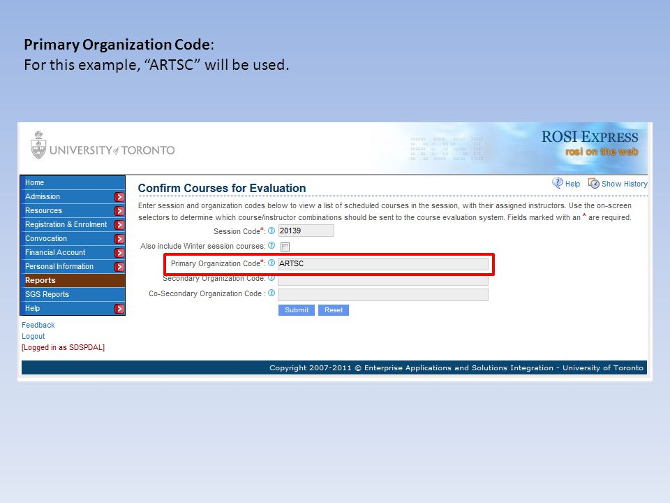 Secondary Organization Code: This is the ROSI code for your unit.