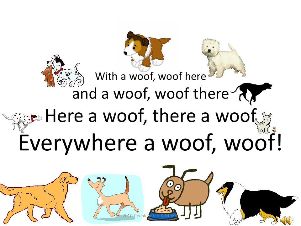 With a woof, woof here and a woof, woof there Here a woof, there a woof Everywhere a woof, woof.