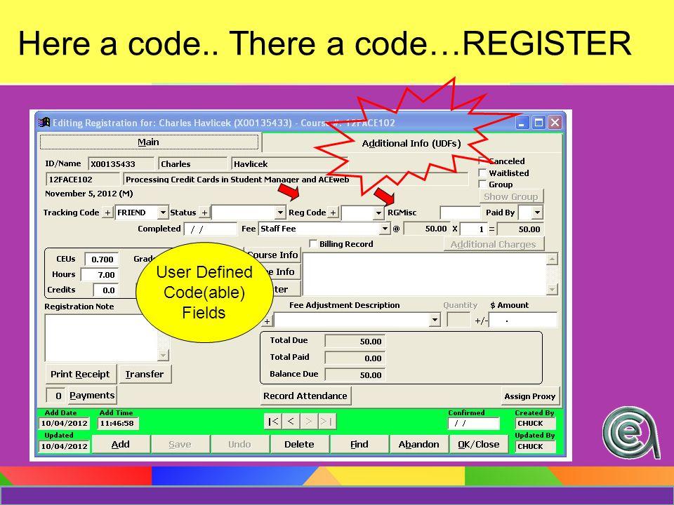 Adding Codes