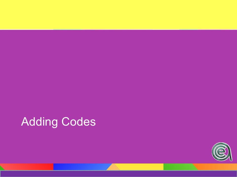 Adding Codes (Method #1) Module / Codes