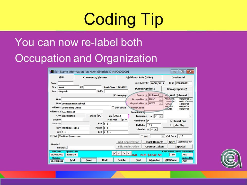 Changes in your organization? Your codes may need to be updated/changed/revamped Coding Tip