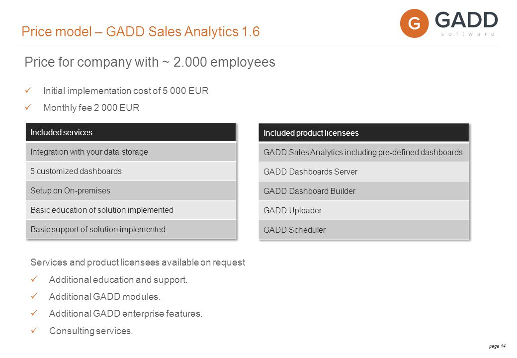 page 15 GADD Software Modules GADD Software Platform Dashboard Builder Dashboard Server Data Storage Extract, Transform & Load Calculation Engine Web browser Available via PC, Mac, Tablet, Smartphone MS Excel Sales Analytics