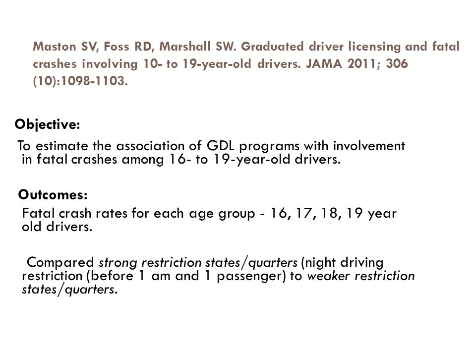 Results: JAMA 2011; 306 (10):1098-1103.