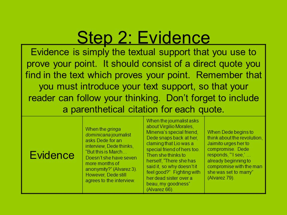 Step 3: Explanation After every quote, you need an explanation to explain exactly how the quote that you chose proves your point.
