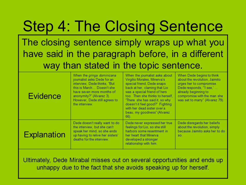 Step 5: Wording and Transitions Once you have your topic sentence, evidence, and explanations, your paragraph is practically written.
