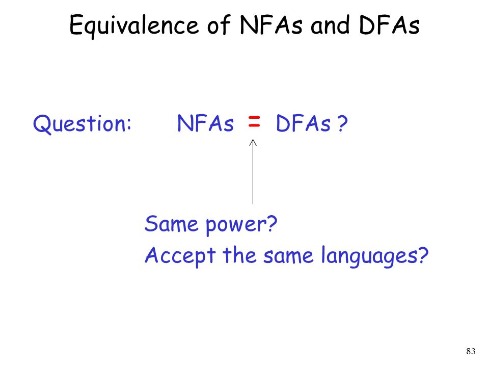 84 Equivalence of NFAs and DFAs Question: NFAs = DFAs ? Same power? Accept the same languages? YES!