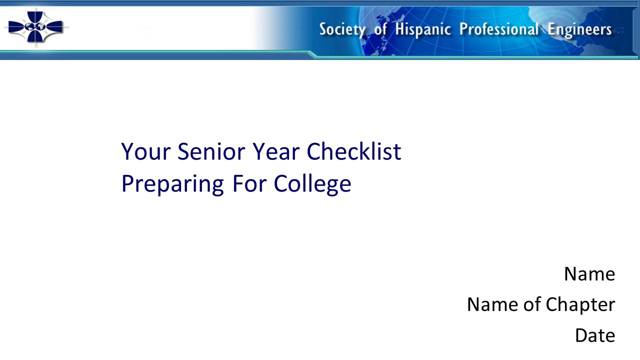 Ready! Set! Go! It's time to start your college preparation now.