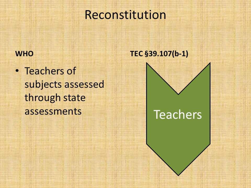 Reconstitution WHAT TEC §39.107(b-1) May be retained at campus ONLY IF – Pattern exists of significant academic improvement by students taught by teacher Teachers Can be reassigned to other position in the district