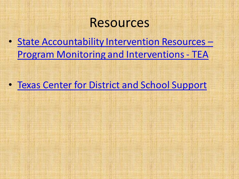 Contact Information Division of Program Monitoring and Interventions – pmidivision@tea.state.tx.us pmidivision@tea.state.tx.us – (512) 463-5226 Heather Christie, Manager – heather.christie@tea.state.tx.us heather.christie@tea.state.tx.us Christine Kent, TCDSS – Christine.kent@esc13.txed.net Christine.kent@esc13.txed.net Rachel Simic, TCDSS – Rachel.simic@esc13.txed.net Rachel.simic@esc13.txed.net