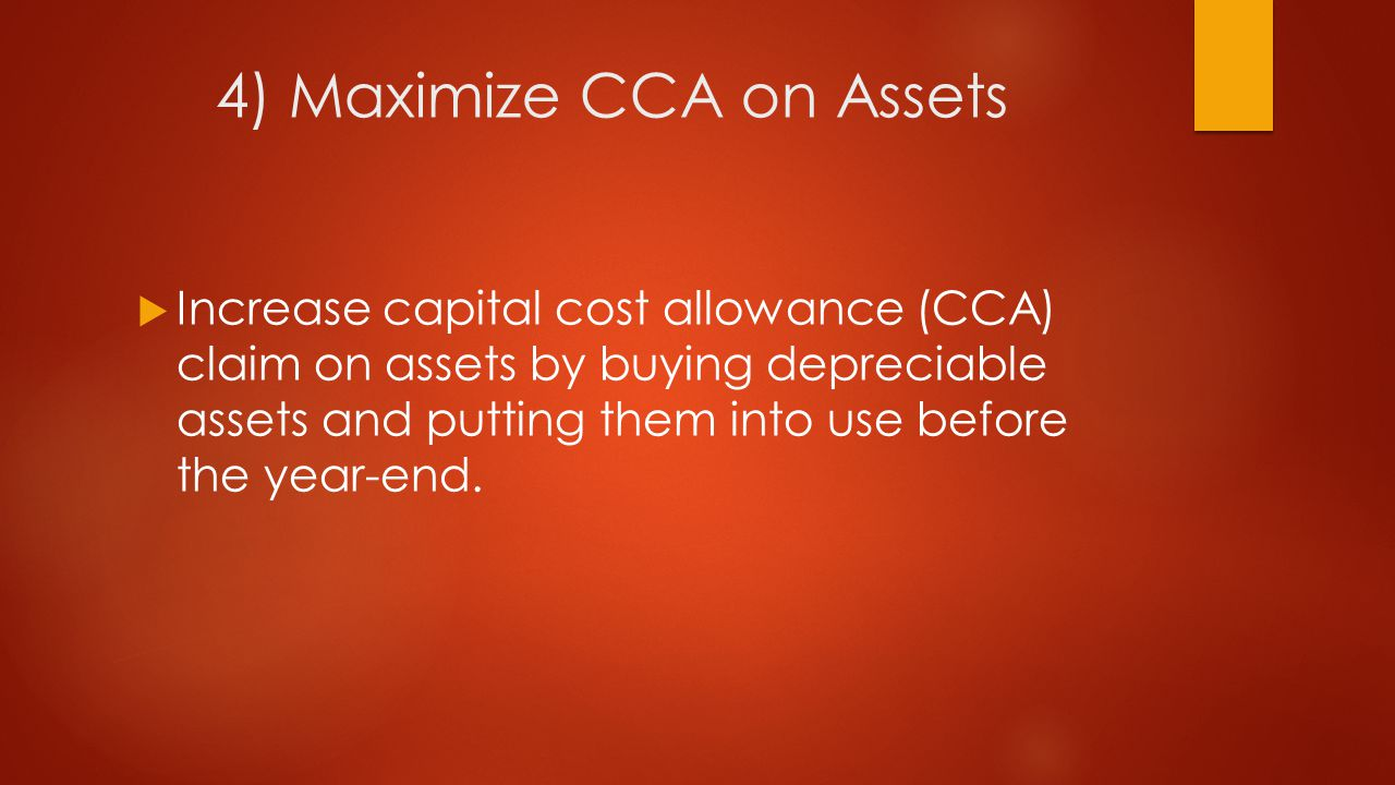 5) Defer Disposition of Depreciable Assets until after Year-end  Consider selling or getting rid of depreciable assets until after year-end if recaptured income will result.