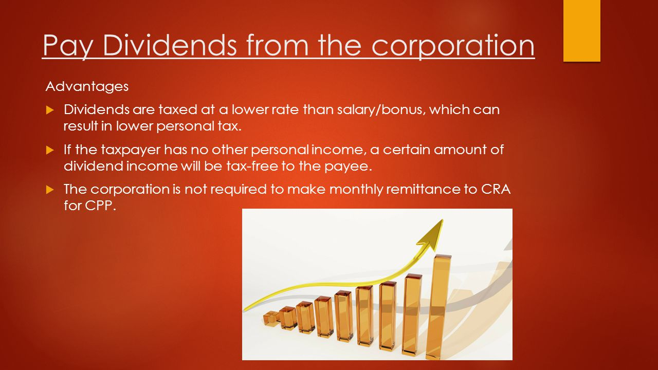 Pay Dividends from the corporation Disadvantages  Dividends are paid out from after-tax profits and thus, does not reduce corporate taxes.