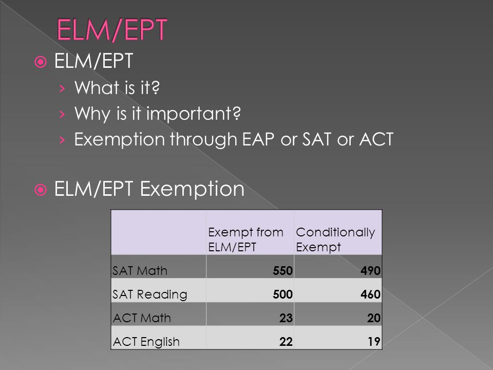  Exemption  Conditional Exemption › English: must be in an honors or AP English › Math: must be in Precalc, AP Calc or AP Stats to meet exemption  No Exemption › ELM/EPT: October and January