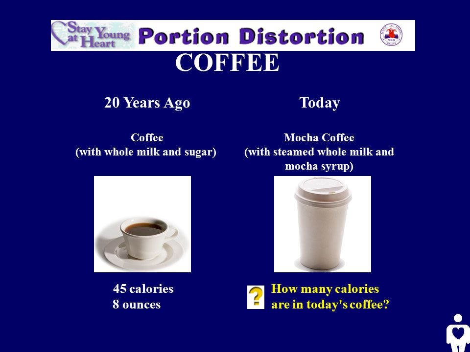 COFFEE 20 Years Ago Coffee (with whole milk and sugar) Today Mocha Coffee (with steamed whole milk and mocha syrup) 45 calories 8 ounces 350 calories 16 ounces Calorie Difference: 305 calories