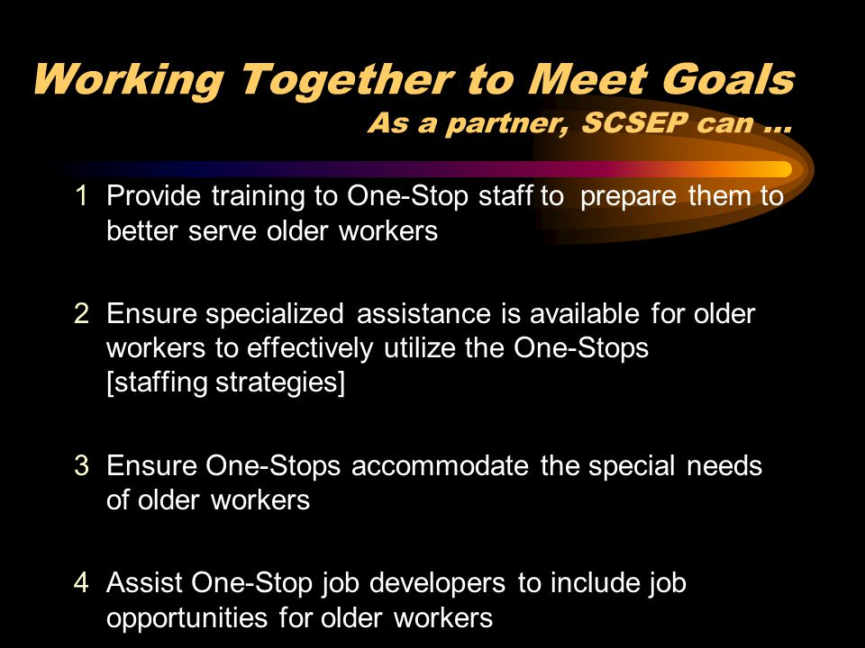 5Ensure One-Stops have necessary linkages & partnerships to ensure availability of specialized training for older workers 6System linkages to facilitate access to support services needed by older workers 7Assist One-Stops with an outreach & recruitment plan that includes older workers and minority older workers 8Assign project participants to serve as mentors to school-to-work and welfare-to-work participants 9 Provide employer linkages