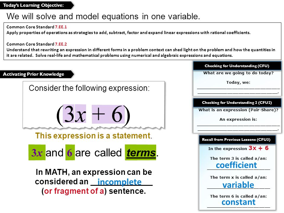 Why is the expression x+3 considered incomplete .
