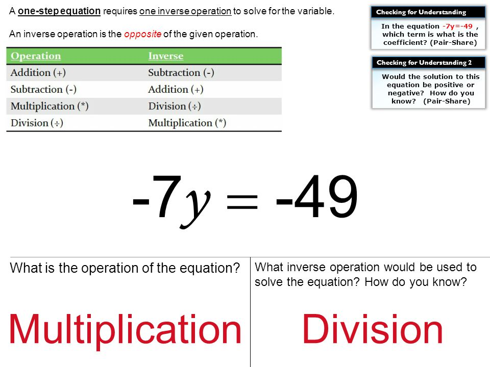 Guided Practice Look at the equation.Determine what operation is being performed.