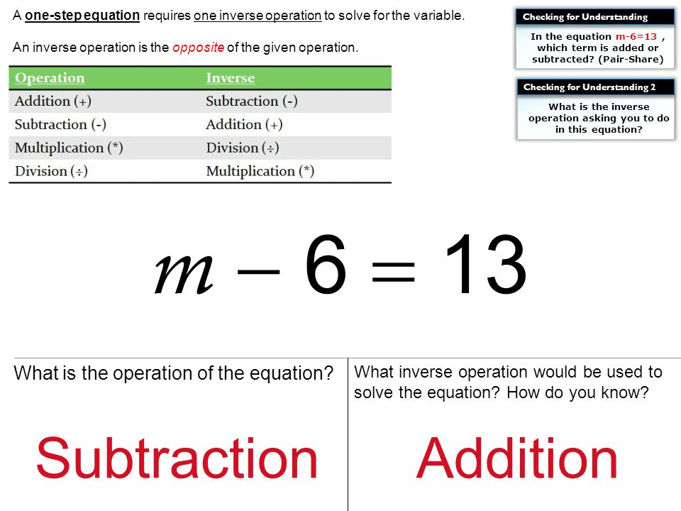 What is the operation of the equation.What inverse operation would be used to solve the equation.