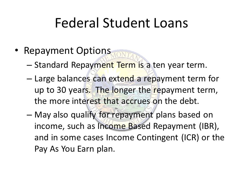 Income Based Repayment Allows students to make monthly payments that are fifteen percent of their discretionary household income.
