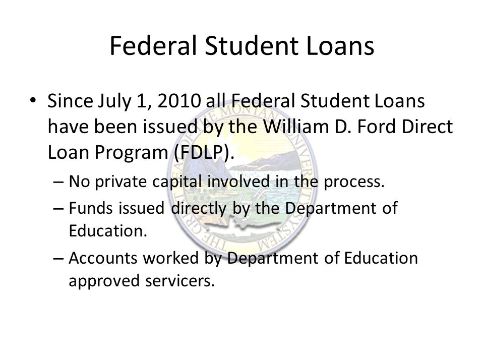 Loan Servicers The Department of Education uses four main servicers for their loans – PHEAA http://www.myfedloan.org/http://www.myfedloan.org/ – Nelnet http://www.nelnet.com/home.aspxhttp://www.nelnet.com/home.aspx – Great Lakes https://www.mygreatlakes.org/https://www.mygreatlakes.org/ – Sallie Mae https://www.salliemae.com/https://www.salliemae.com/ – Previous Servicer ACS https://www.acs- education.com/CS/Jsp/general/home.jsphttps://www.acs- education.com/CS/Jsp/general/home.jsp