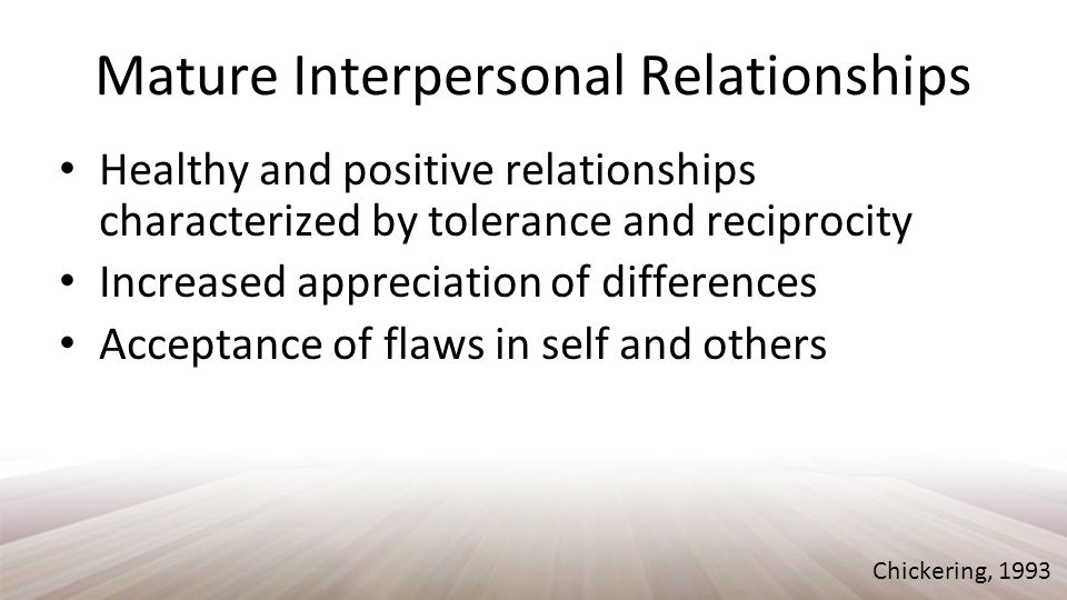 Establishing Identity Integrate different facets of self assembling a jigsaw puzzle A healthy self-concept through all phases of identity; vocational, personal, social Self-acceptance Chickering, 1993