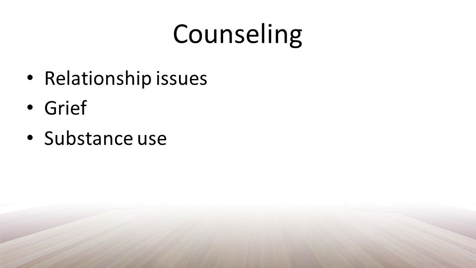 Counseling Academic Concerns Identity issues Eating disorders