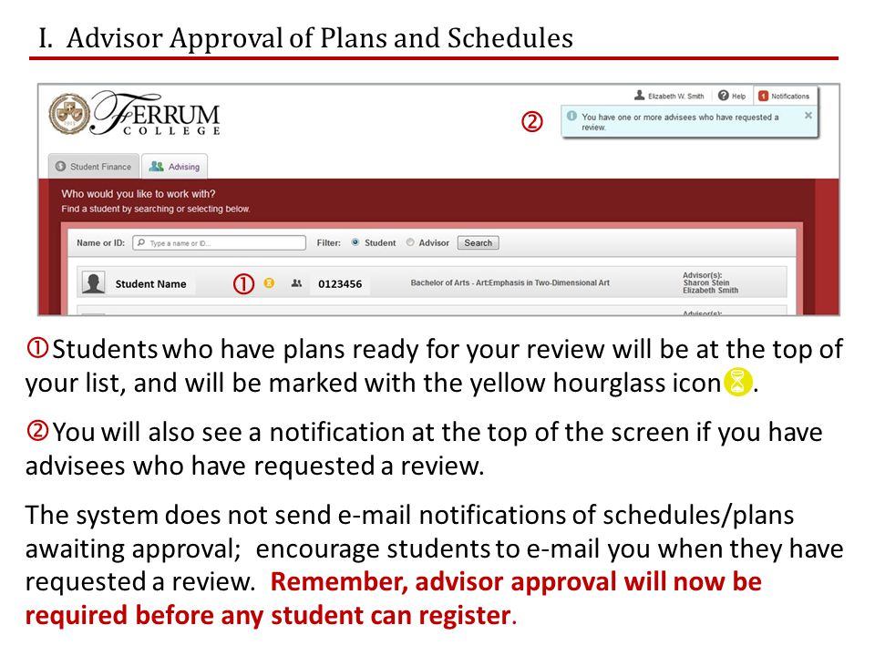  The first screen you will see for each advisee is the course plan for the current semester (List View).