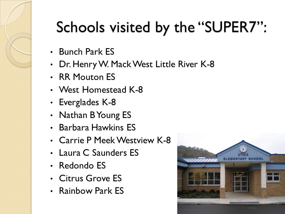 Schools visited by the SUPER7 : Bunch Park ES Dr.
