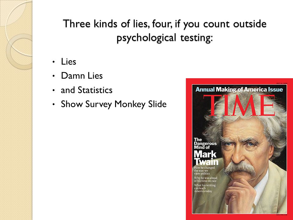 Three kinds of lies, four, if you count outside psychological testing: Lies Damn Lies and Statistics Show Survey Monkey Slide