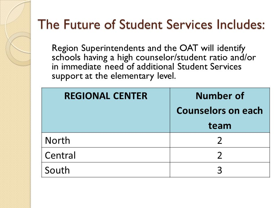 The Future of Student Services Includes: REGIONAL CENTER Number of Counselors on each team North2 Central2 South3 Region Superintendents and the OAT will identify schools having a high counselor/student ratio and/or in immediate need of additional Student Services support at the elementary level.
