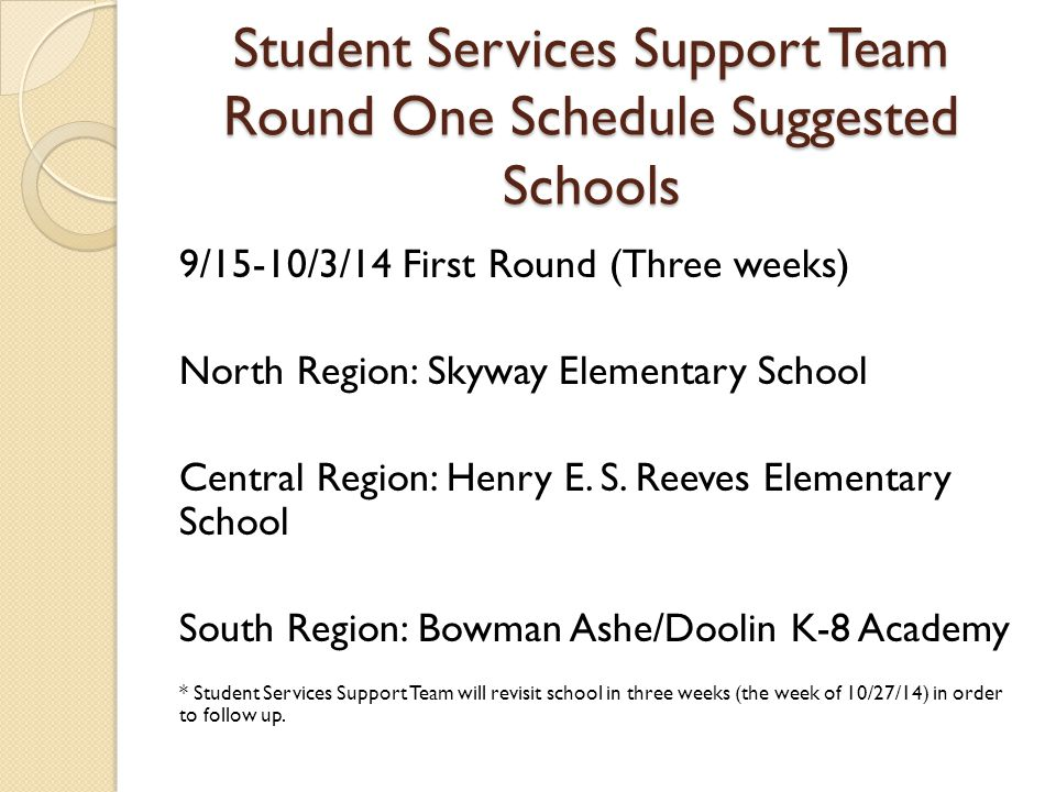 Student Services Support Team Round One Schedule Suggested Schools 9/15-10/3/14 First Round (Three weeks) North Region: Skyway Elementary School Central Region: Henry E.