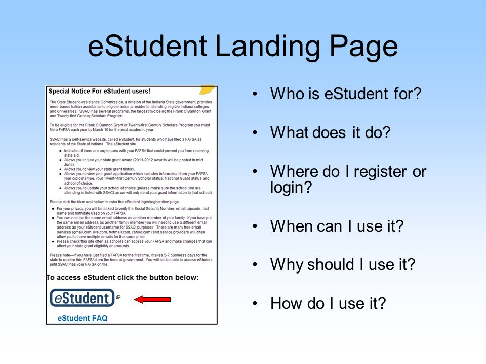 eStudent Registration/Login Page