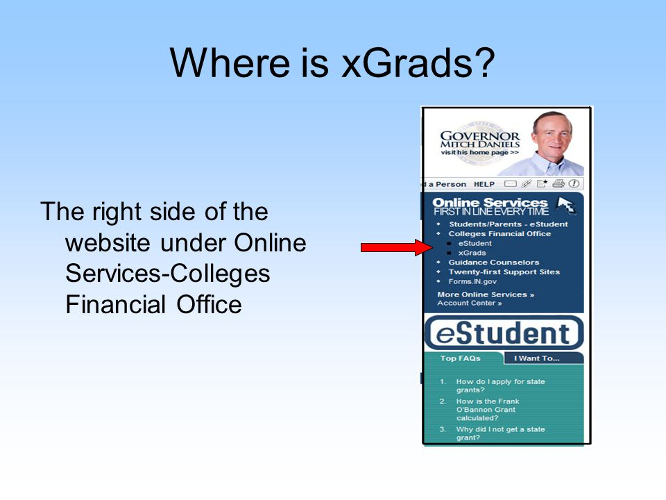 xGrads Login Page Requests for a username and password must be verified and submitted from your financial aid director All new users must complete an IRUA Updates and requests for xGrads users should be sent through xGrads@ssaci.in.gov
