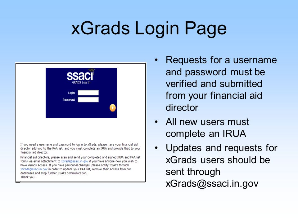xGrads – The Welcome Screen Any new messages will be displayed at the top of the welcome page.