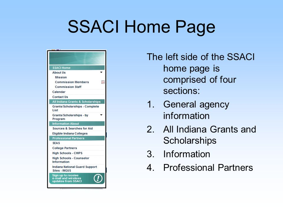 SSACI Home Page The center of the home page includes important links via the billboards.
