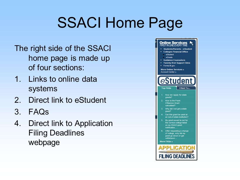 SSACI Home Page Potential Changes: Moving the publications and research section under SSACI's About Us in the left menu Reformatting the webpage to resemble the www.in.gov home page