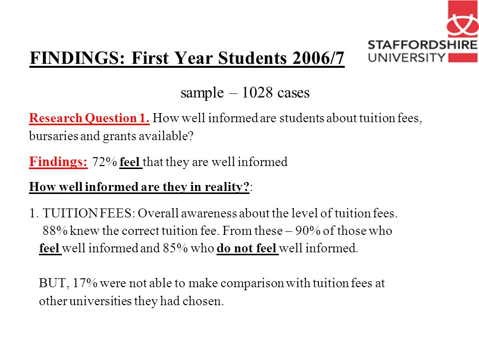 MAIN FINDINGS 2. BURSARIES: Students appear to be less aware about bursaries.