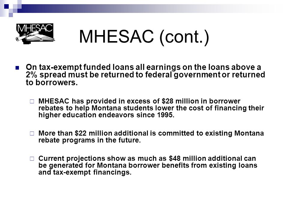 MHESAC (cont.) In 2000, MHESAC commenced student loan activity outside of Montana.