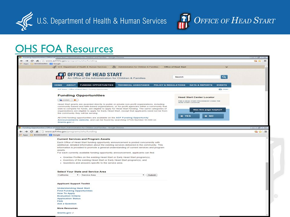FOA Resources  Link: http://www.acf.hhs.gov/grants/open/foa/index.cfm http://www.acf.hhs.gov/grants/open/foa/index.cfm  Forms  Certifications  Electronic Submission Instructions  Grants Policy Statement  Terms and Conditions  Related Links
