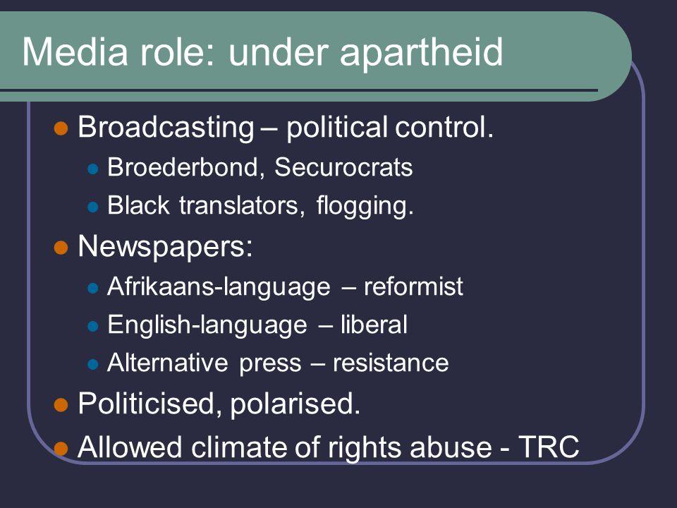 Media role: diverse options Alternative press extinct Mainstream media – new faces Roles: Independent, critical.