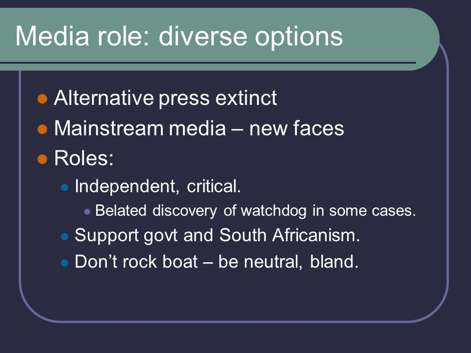 Media role: identity of journalists Journalists first, other ID's second.