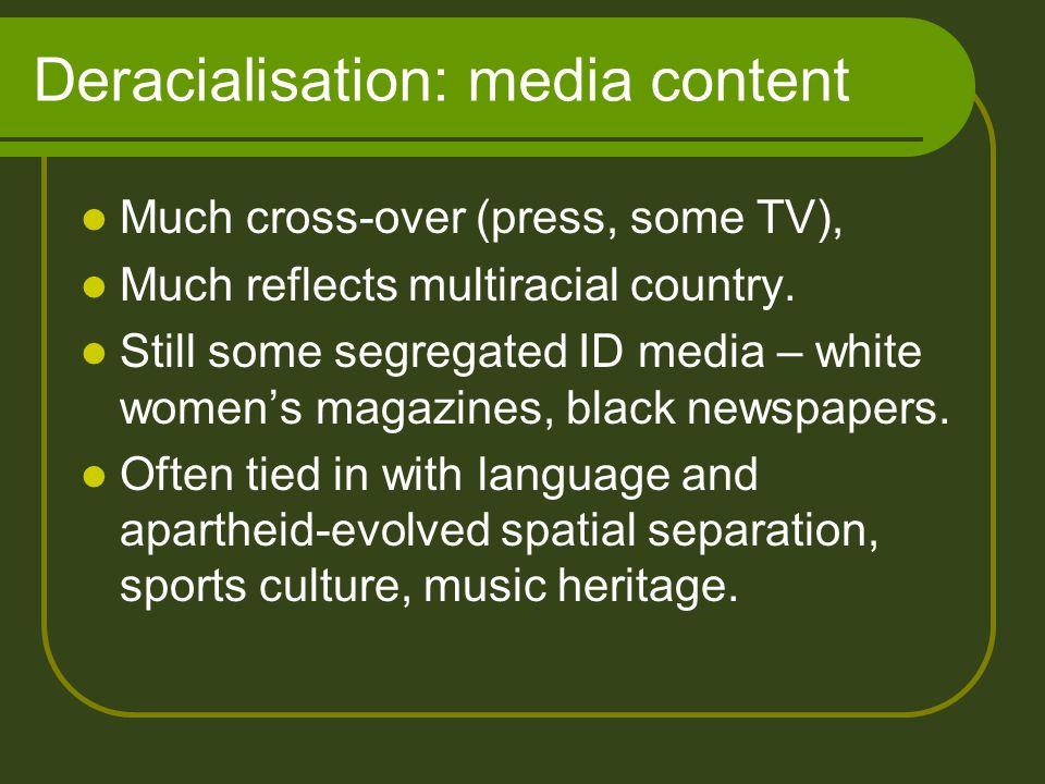 Deracialisation: active steps 1999: SAHRC inquiry into media racism.